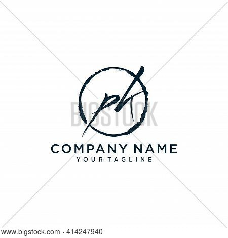 Pk Initial Handwriting Logo Vector, Isolated On White Background