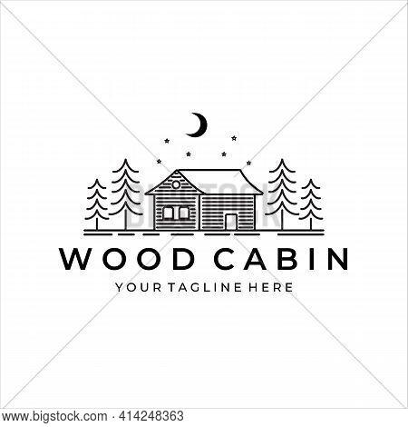 Wood Cabin Or Cottage Line Art Minimalist Simple Vector Logo Illustration Design