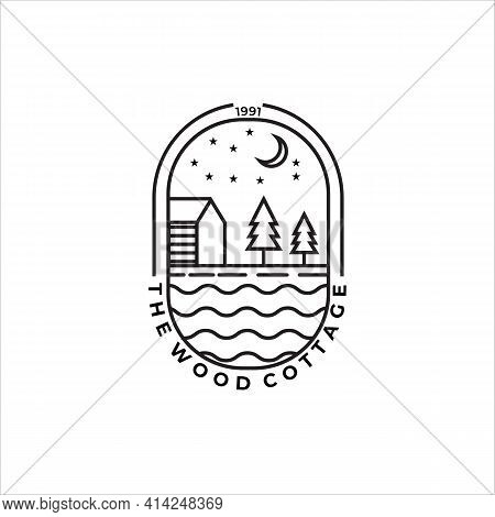 Wood Cottage Or Cabin Line Art Minimalist Simple Vector Logo Illustration Design