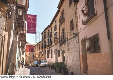 Toledo, Spain March 27, 2019. Horizontal View Of An Old Street In Toledo