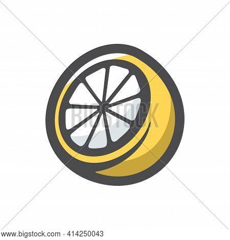 Lemon Slice Fresh Sour Vector Icon Cartoon Illustration