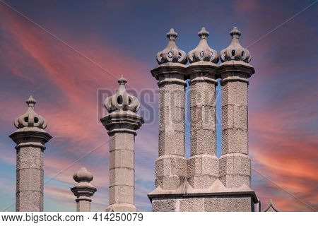 The Walls And Towers Of Old Palace On The Background Of Beautiful Pink Sunset. Vorontsov Palace, Or