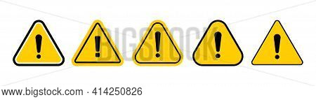 Set Of Warning Icons Vector. Flat Yellow Triangle Warn Signs. Caution Danger Signs.