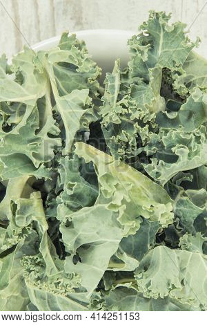 Fresh Healthy Nutritious Green Curly Kale As Ingredient Of Coctail Or Smoothie