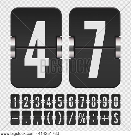 Set Of Flip Numbers And Symbols On Dark Mechanical Scoreboard. Vector Template For Your Design.