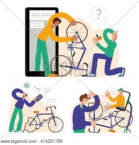 Online Bicycle Repair. The Mechanic Repairs The Bicycle, The Mechanic Inflates The Wheels. Web Graph
