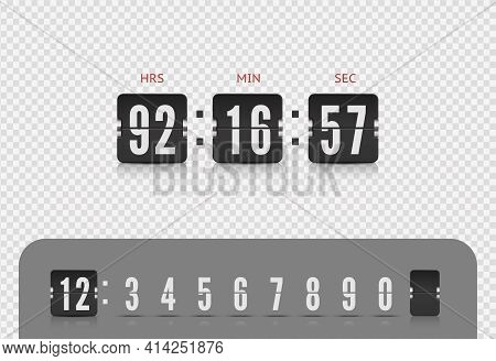 Vector Modern Ui Design Of Retro Time Meter With Numbers. Old Design Scoreboard Clock Template. Scor