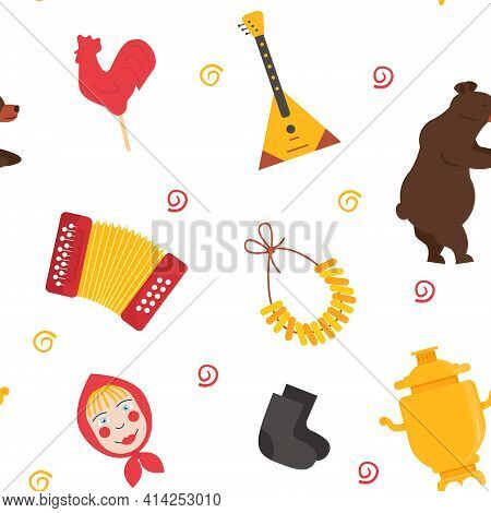 Seamless Pattern Of Russia Folk Elements. Doll Face, Samovar, Bubliki, Rooster Candy Lollipop And Ba
