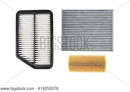 Oil Filter, Air Filter And Cabin Filter Isolated On White Background With Clipping Path. Spare Parts