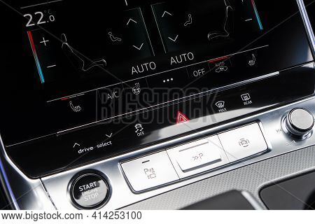 Air Conditioning Touch Buttons Inside A Modern Car. Climate Control Ac Unit In The New Car. Modern C