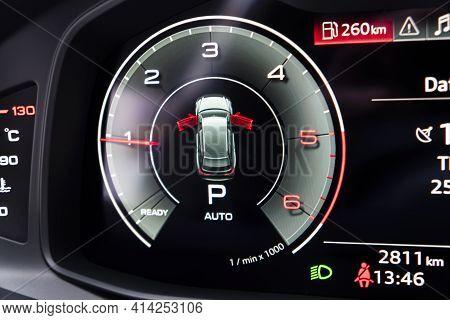 Close Up Shot Of A Digital Tachometer In Car. Fully Digital Car Dashboard. Dashboard Details With In