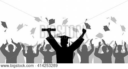 Graduation Ceremony. Cheerful Graduate In Mantle And Mortarboard With Diploma On Background Of Crowd