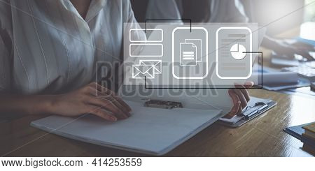 Business Financial Or Accountant Busy Calculating Finances Or Taxes On Calculator. Icon On Virtual S
