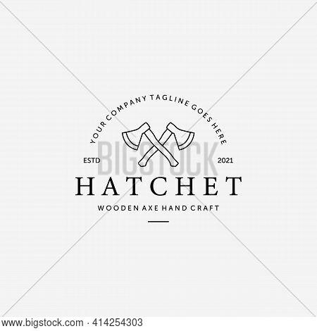 Hatchet Wooden Ax Lumberjack Line Art Vector Logo, Illustration Design Of Woodcutter Concept