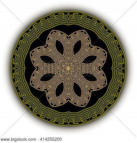 Round Greek Vector Mandala Pattern. Decorative Background. Floral Backdrop. Beautiful Ornaments. Gre