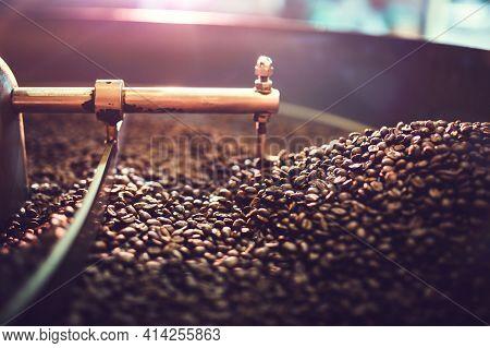 Roasted Coffee Beans Background. Set Of Fresh Roasted Coffee Beans.