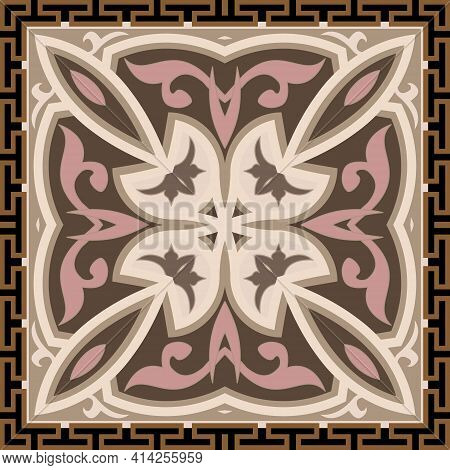 Vintage Seamless Pattern. Ornamental Floral Background. Repeat Colorful Vector Backdrop. Arabesque O