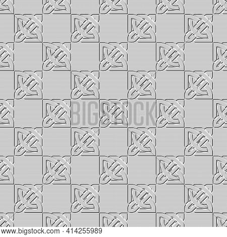 Celtic Seamless Pattern. Vector Gray Background. Knots Ornaments With Embossing Effect. Ornate Repea