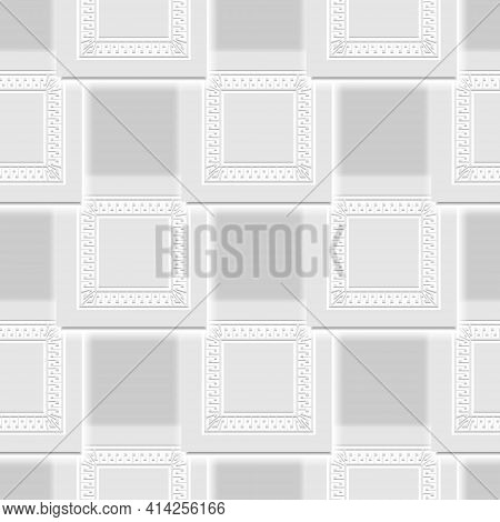 3d White Seamless Pattern. Vector Neumorphism Style Light Background. Surface Repeat Deco Backdrop.