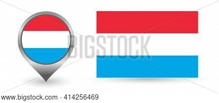 Vector Flag Luxembourg. Location Point With Flag Luxembourg