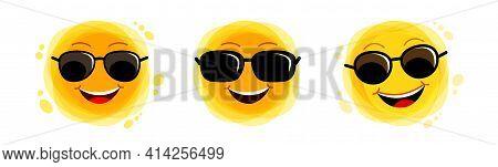 Funny Sun. Yellow Cute Sunshine Set. Childish Sun Joy. Smiling Sun With Sunbeams Cartoon Character.