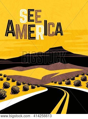 Retro Travel Poster Design Of Southwest United States. For Poster, Banner, Travel Sticker. Vector Il
