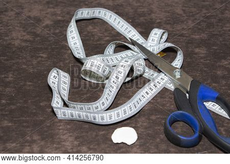 Tailor's Desktop Background, With Tape Measure, Chalk And Scissors