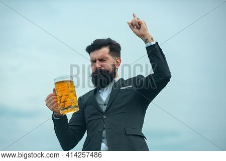 Retro Man With A Beer. Traditional Beer. Retro Vintage Man With Beer