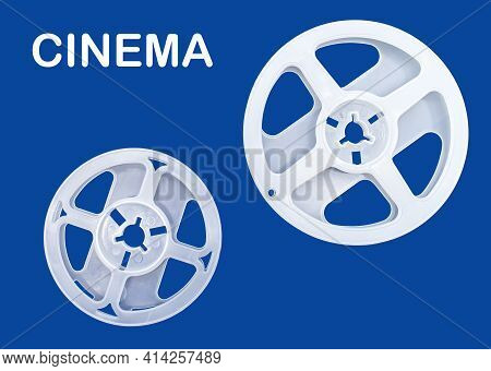 White Reel For Movie Film On Blue Background. Stylized Movie Camera. Love Cinema Concept.