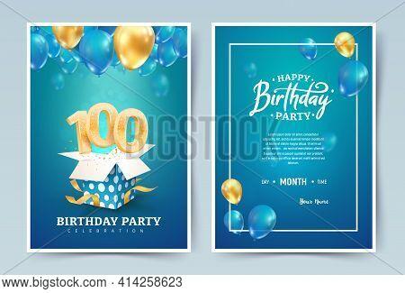 100th Years Birthday Vector Invitation Double Card. One Hundred Years Wedding Anniversary Celebratio