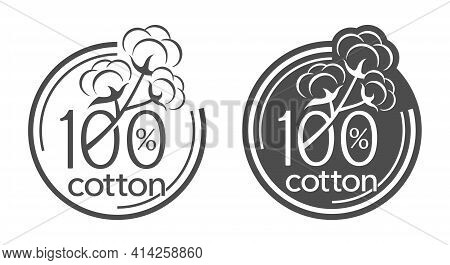 100 Cotton Flat Icon. Hundred Percents Natural Material Of Textile Sticker For Natural Breathable Te