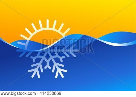 Climat Change From Hot To Cold - Half Sun Half Snowflake - Climate Control, Weather Difference Icon.
