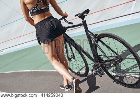 Respect Your Body. It S The Only One You Get. Attractive Sportswoman Standing With A Bicycle After C