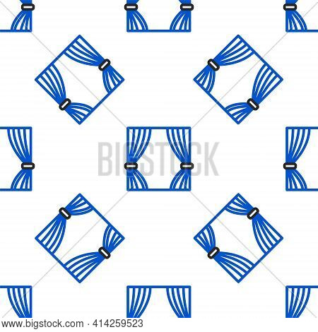 Line Curtain Icon Isolated Seamless Pattern On White Background. For Theater Or Opera Scene Backdrop