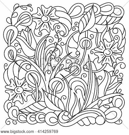 Coloring Pages For Adults And Older Children . Fantastic Plants And Doodle Elements. Hand-drawn Vect