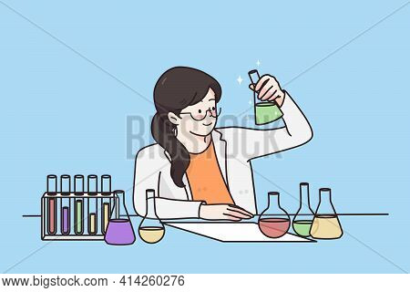 Working In Laboratory, Scientific Experience Concept. Young Smiling Woman Cartoon Character Sitting