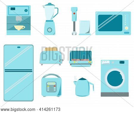 A Set Of Kitchen Appliances In Blue Tones. The Kitchen Is Equipped With A Refrigerator And A Dishwas