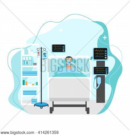 Vector Image Of A Sick Person Lies In Intensive Care And Is Connected To The Artificial Respiration
