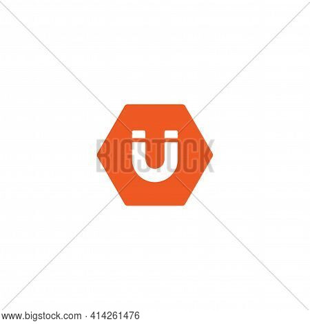 White Horseshoe Magnet In Red Hexagon Icon Isolated On White. U-shaped Magnet Icon. Magnetism, Magne