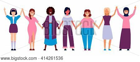Diverse International And Interracial Group Of Standing Women. For Girls Power Concept, Femininity A