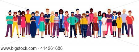 Group Of Business Men And Women, Working People On White Background. Business Team And Teamwork Conc