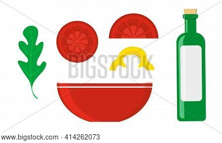 Clipart With Simple Vegetable Salad Ingredients And A Bowl. Arugula, Tomatoes Slices, Yellow Sweet P