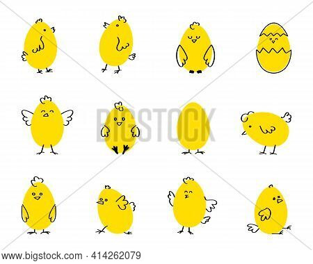 Cute Cartoon Chicken Set. Funny Yellow Chickens In Different Poses, Vector Illustration