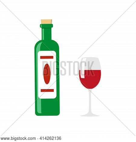 Wine Green Bottle With Cork Top And White Label And A Glass Of Red Wine. Isolated Vector Illustratio
