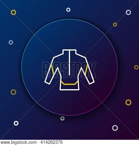 Line Wetsuit For Scuba Diving Icon Isolated On Blue Background. Diving Underwater Equipment. Colorfu