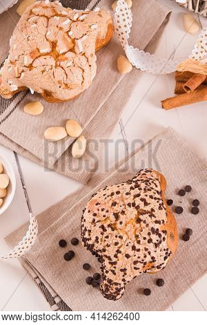 Colomba Italian Easter Dove Bread On Wooden Table.