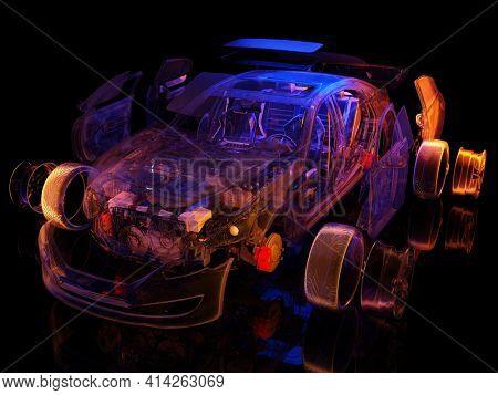 Model cars on a black background.,3d render