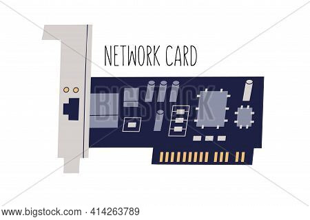 Network Interface Adapter, Controller Or Card. Computer Internal Hardware Component. Colored Flat Ve