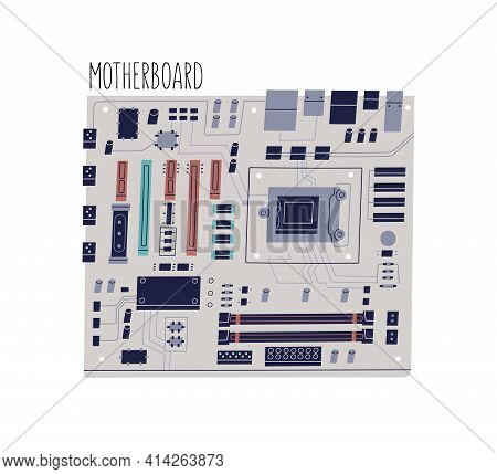 Computer Motherboard Isolated On White Background. Mainboard Or Circuit Board With Integrated Chips,