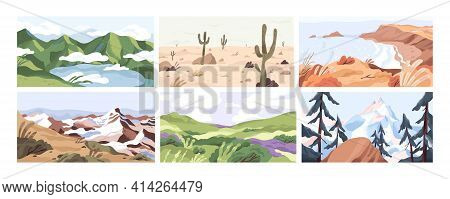 Set Of Empty Landscapes And Sceneries With Snowy Mountain Tops, Hills, Field, Lake, Sea And Desert.